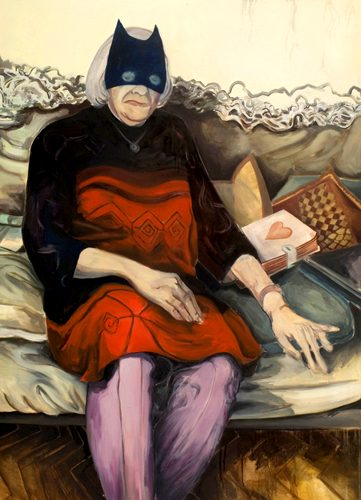 """The Lovestory of the Batgrandmother"", Oel auf Leinwand, 110x80cm, 2010"